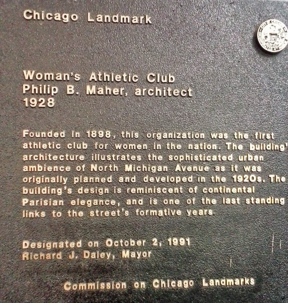 Woman's Athlectic club historic plaque
