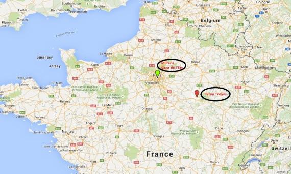 map Troyes-Paris