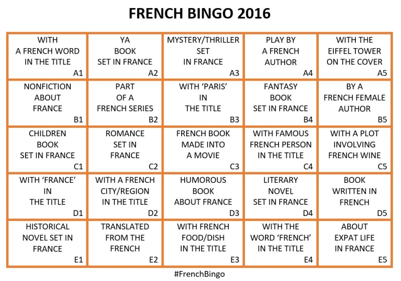 French Bingo 2016 card