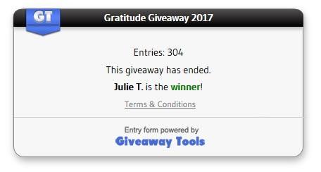 Gratitude giveaway winner